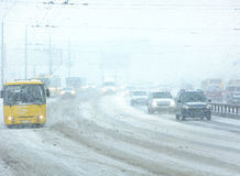 Snowstorm, poor visibility,slick roads and lots of traffic Stock Photo