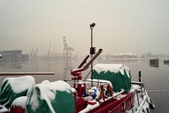 Snowstorm in the port. Stock Photography