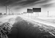 Snowstorm on the road Royalty Free Stock Photography