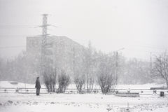 Snowstorm in Russia. Winter danger background urban Royalty Free Stock Image