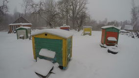 Snowstorm snowdrift in farm and colorful beehives on snow, time lapse 4K stock footage