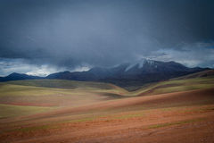 Snowstorm in Tibet. Snow falling in summer in the high central Tibetan plateau, Tibet, China Stock Photos