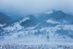 Snowstorm. Winter in the mountains Stock Images