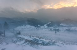 Snowstorm. Winter in the mountains Royalty Free Stock Images