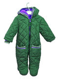 Snowsuit for baby on a hanger on a white background. Baby goods Stock Photos