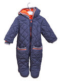 Snowsuit for baby on a hanger on a white background. Baby goods Royalty Free Stock Image