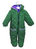 Snowsuit für Baby auf einem Aufhänger auf einem weißen Hintergrund Stockfotos