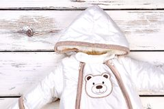 Snowsuit for newborn baby. Royalty Free Stock Image
