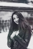 Snowtime Portrait of Beautiful Brunette Girl Stock Photo