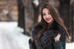 Snowtime stående av den härliga brunettflickan Royaltyfria Foton