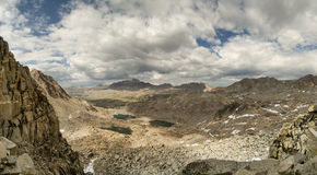 Snowtongue Col Panorama. Panorama from Snowtongue Col across Glacier Divide looking back into Humphreys Basin in the Sierra Nevada Mountains Stock Photography