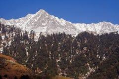 snowtrekking triund的喜马拉雅印度kangra途径 免版税库存图片
