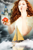 Snowwhite Themed Fantasy Portrait. Beautiful Young Woman Actress Playing Snow White in a Fantasy Poster Style Portrait Royalty Free Stock Images