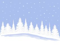 SnowXmasTrees. A row of Christmas Trees in the Snow stock illustration