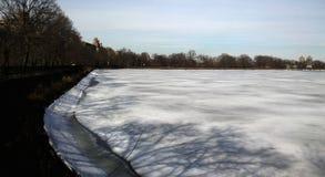 Snowy湖在中央公园 库存图片