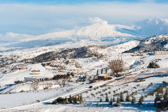 Snowy Ätna stockfoto