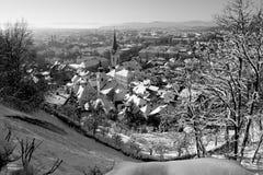 Snowy Любляна в черной & белизне Стоковое фото RF