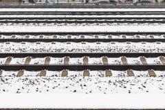 Snowy прокладывает рельсы картина Стоковые Фотографии RF