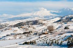 Snowy Этна стоковое фото