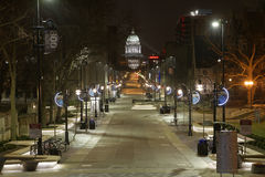 Snowy-Abend in Madison, WI Lizenzfreies Stockfoto