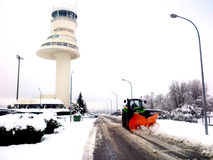 A snowy airport. It`s snowing inside the dependencies of an spanish airport royalty free stock photography