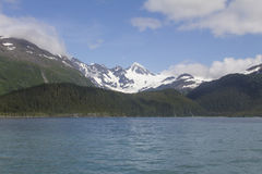 Snowy-alaskischer Küstenberg stockbilder