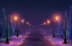 Snowy alley Royalty Free Stock Image