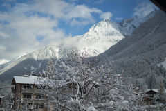 Snowy alp in Chamonix. Alps of Chamonix, France in daytime stock photos