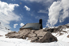 Snowy Alpine landscape with church in Germany Royalty Free Stock Photography