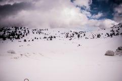 Snowy-alpine Straße Stockbilder
