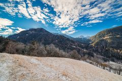 Snowy alpine valley. Panorama of snowy alpine valley Stock Image
