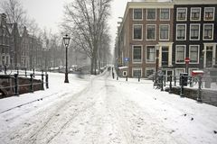 Snowy in Amsterdam the Netherlands Stock Image