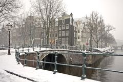 Snowy in Amsterdam the Netherlands. In wintertime Royalty Free Stock Photography