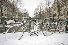 Snowy Amsterdam in the Netherlands Stock Image