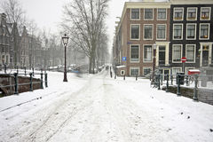 Snowy Amsterdam in the Netherlands Royalty Free Stock Images