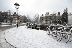 Snowy Amsterdam in the Netherlands Royalty Free Stock Photos