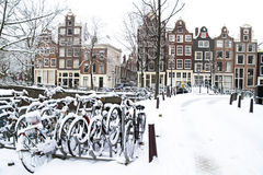 Snowy Amsterdam in Netherlands Stock Photos