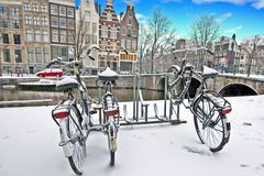 Snowy Amsterdam in the Netherlands. In winter Stock Images