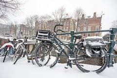 Snowy Amsterdam in the Netherlands. In winter Royalty Free Stock Images
