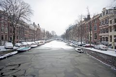 Snowy Amsterdam in the Netherlands. In winter Royalty Free Stock Photo