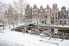 Snowy Amsterdam in the Netherlands. In winter Stock Photo