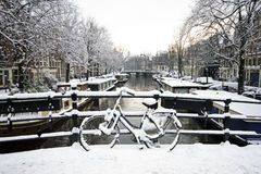 Snowy Amsterdam Netherlands in winter Royalty Free Stock Photo