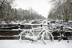 Snowy Amsterdam Netherlands in winter Stock Images