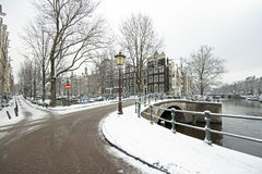 Snowy Amsterdam Netherlands in winter Stock Photo