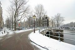 Snowy Amsterdam Netherlands in winter Stock Photo