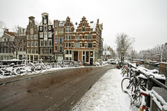 Snowy Amsterdam in the Netherlands Stock Photos