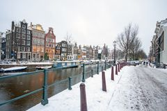 Snowy Amsterdam in the Netherlands Royalty Free Stock Photography
