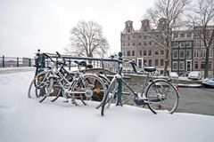 Snowy Amsterdam in the Netherlands Stock Photography