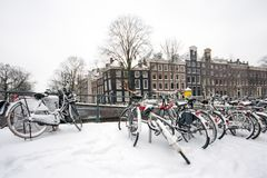 Snowy Amsterdam in the Netherlands. In winter Stock Photography