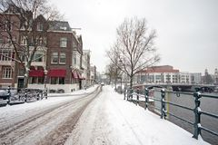 Snowy Amsterdam in the Netherlands. In winter Stock Image